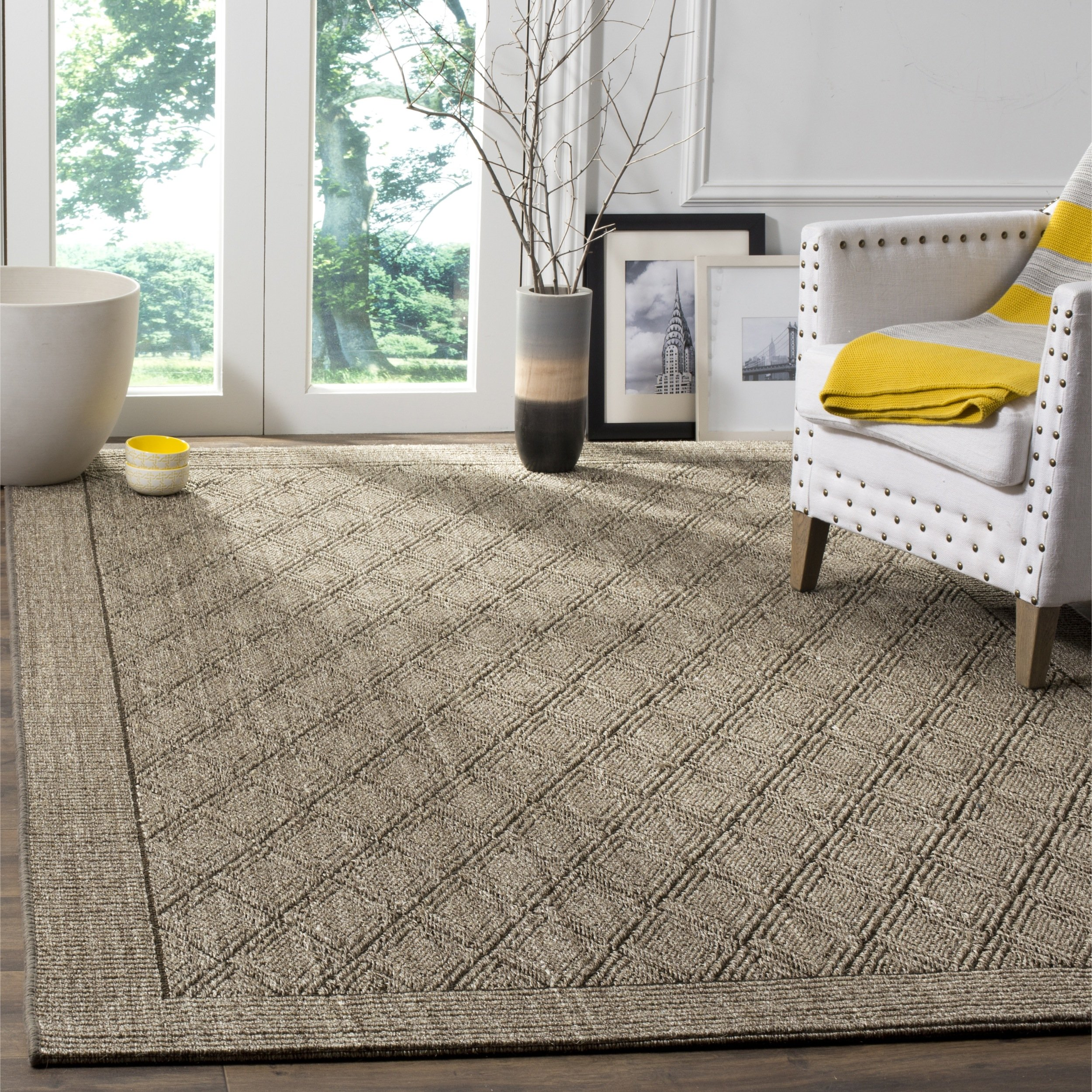 Safavieh Palm Beach Collection PAB351D Silver Sisal & Jute Area Rug (6' x 9') by Safavieh