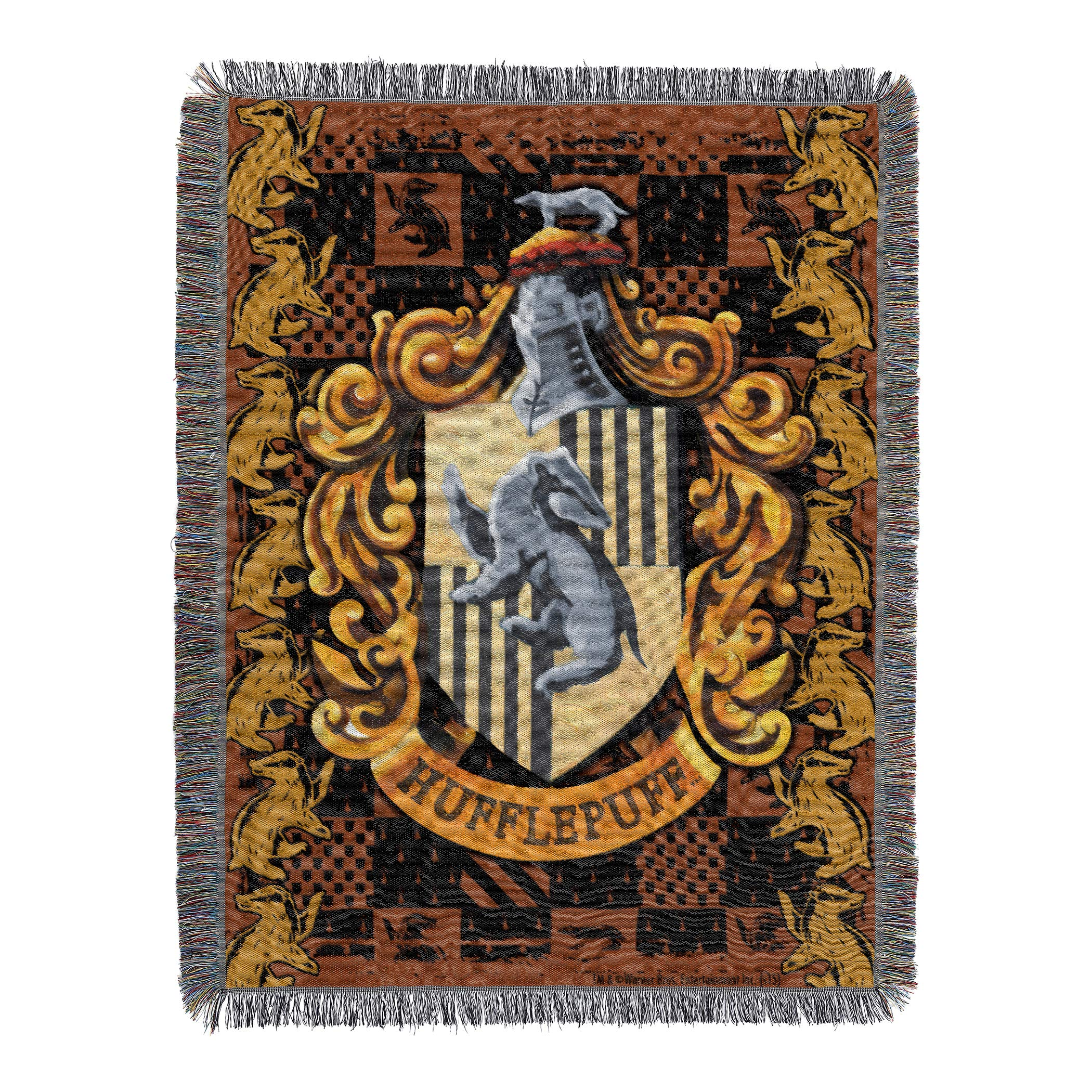 Warner Brothers Harry Potter, ''Hufflepuff Crest'' Woven Tapestry Throw Blanket, 48'' x 60'', Multi Color