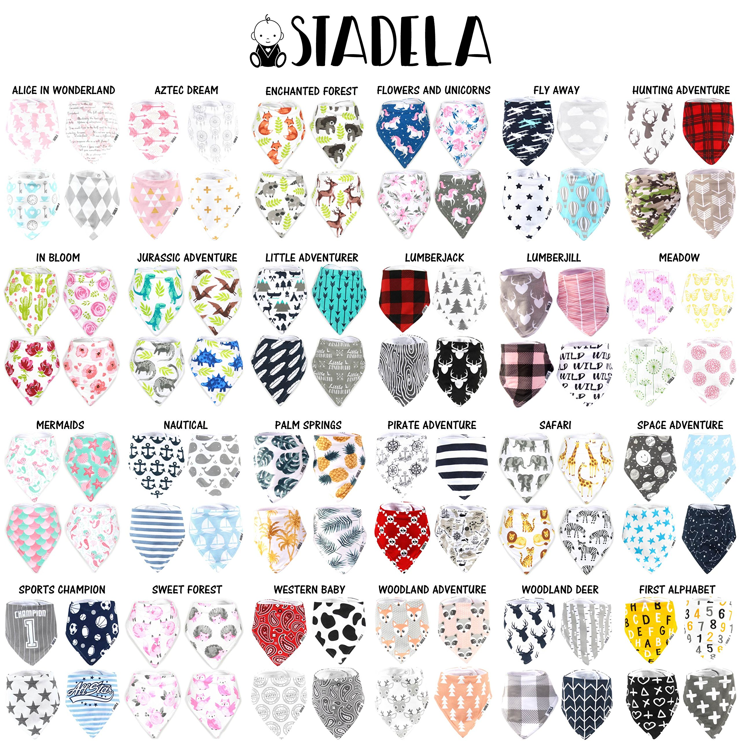 Stadela Baby Adjustable Bandana Drool Bibs for Drooling and Teething Nursery Burp Cloths 4 Pack Unisex Baby Shower Gift Set for Girl and Boy – Woodland Adventure Forest Animal Fox Deer Raccoon Tree by STADELA (Image #2)