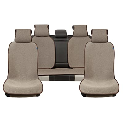 Sojoy Universal Four Seasons Full Set of Car Seat Cover and Cushions (Brown and Tan): Automotive