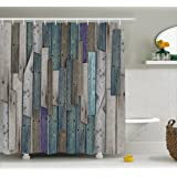 Ambesonne Wooden Shower Curtain Set by, Blue Grey Grunge Rustic Planks Barn House Wood and Nails Lodge Hardwood Graphic Print, Fabric Bathroom Decor with Hooks, 70 Inches, Teal Purple Grey