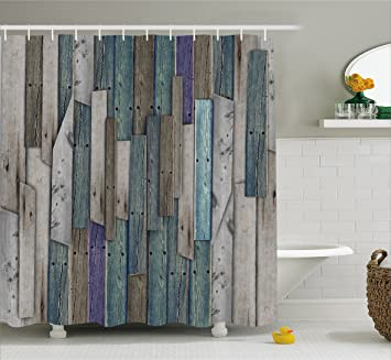 Wooden Shower Curtain Set By Ambesonne, Blue Grey Grunge Rustic Planks Barn  House Wood And