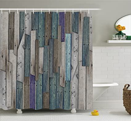 Ambesonne Wooden Shower Curtain Set By Blue Grey Grunge Rustic Planks Barn House Wood And