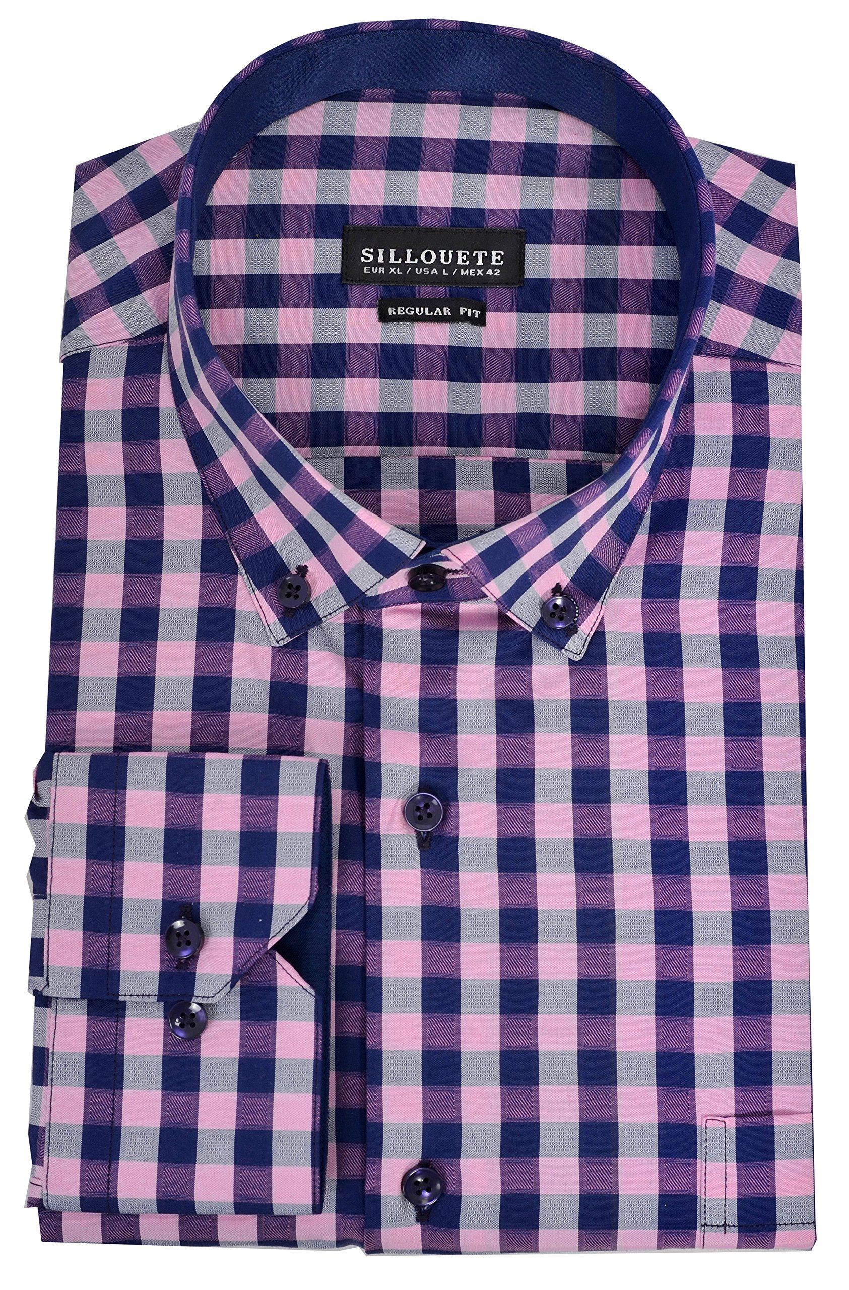 Men's Dress Shirt Long Sleeve Regular Fit Classic Button Down Collar, Pink/Navy Blue/Grey, US-X-Large
