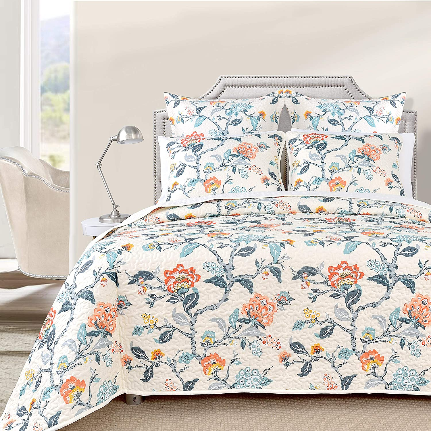 DriftAway 3 Piece Ada Reversible Quilt Set Bedspreads Coverlets Floral Pattern Cover Prewashed Multi King
