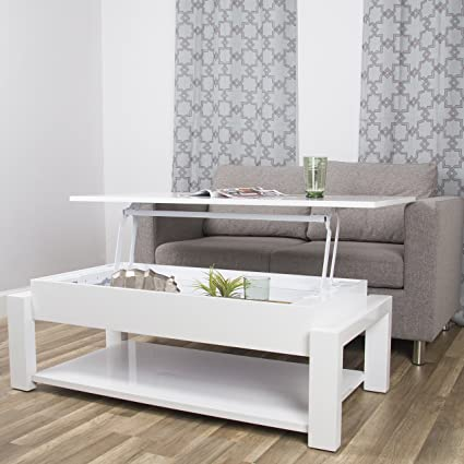In The Mix MIX High Gloss Lacquer Wood White Lift Top Rectangular Coffee  Table With