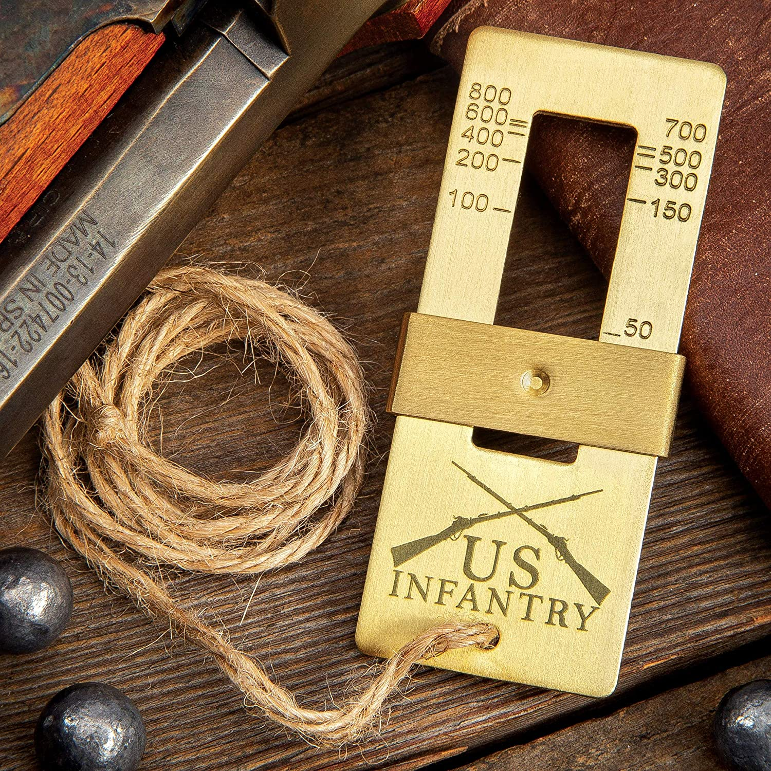 "Trailblazer 19TH Century Range Finder - Solid Brass Construction, Exact Length Twine String - Dimensions 3"" x 1 1/4"""