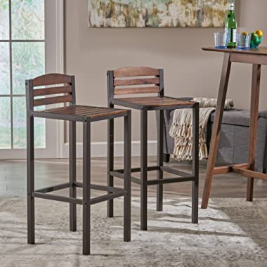Christopher Knight Home 303978 Lilith Indoor Acacia Barstools, Dark Brown/Rustic Metal