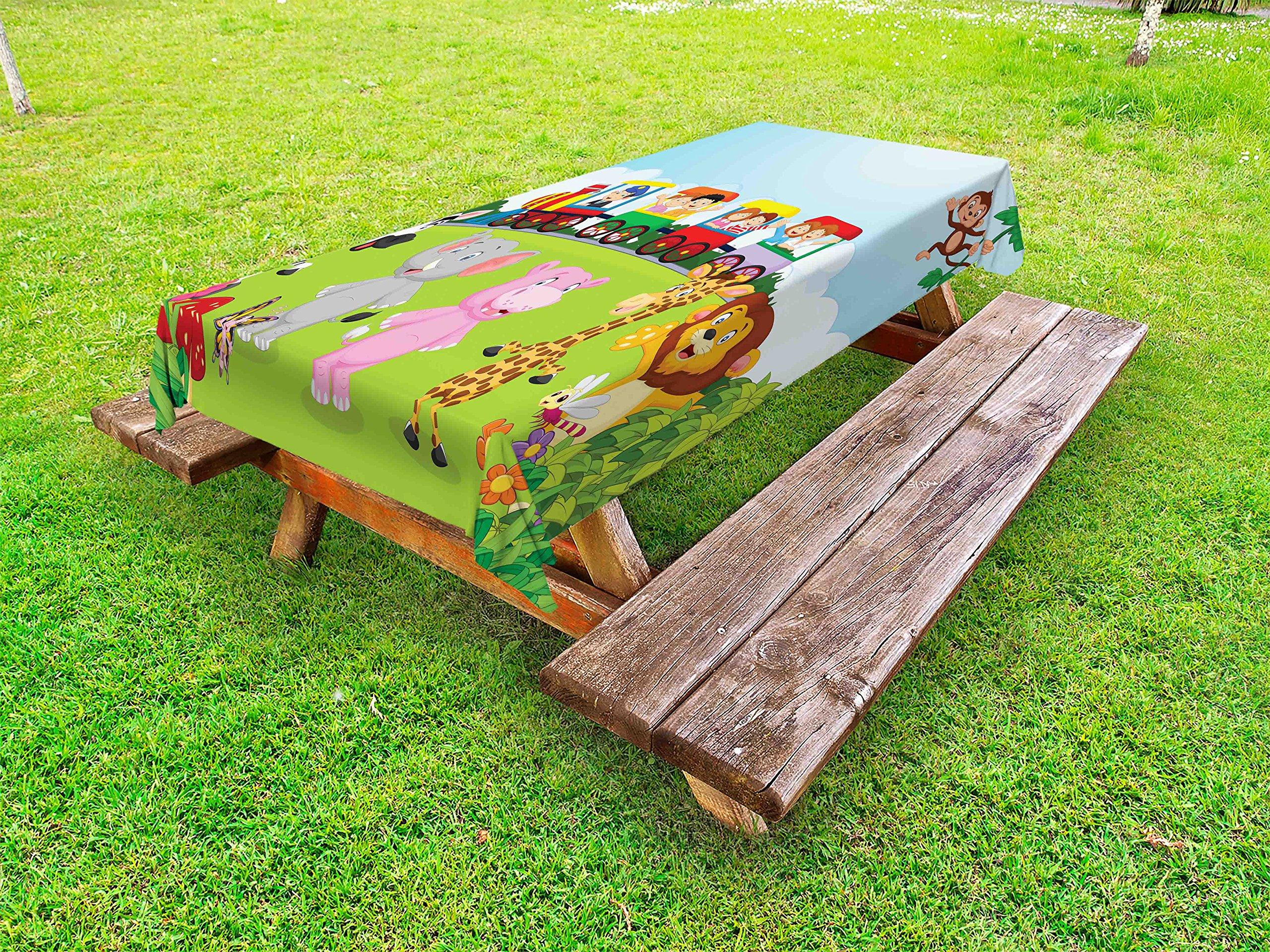 Ambesonne Cartoon Outdoor Tablecloth, Kids Nursery Design Happy Children on a Choo Choo Train with Safari Animals Artwork, Decorative Washable Picnic Table Cloth, 58 X 120 inches, Multicolor