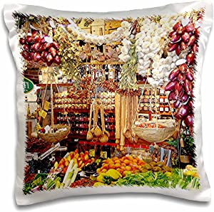 3D Rose French Italian Food Cheese Veggies Berries Pillow Case, 16