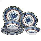 Amazon Basics 12-Piece Melamine Dinnerware Set - Service for 4, Tuscan