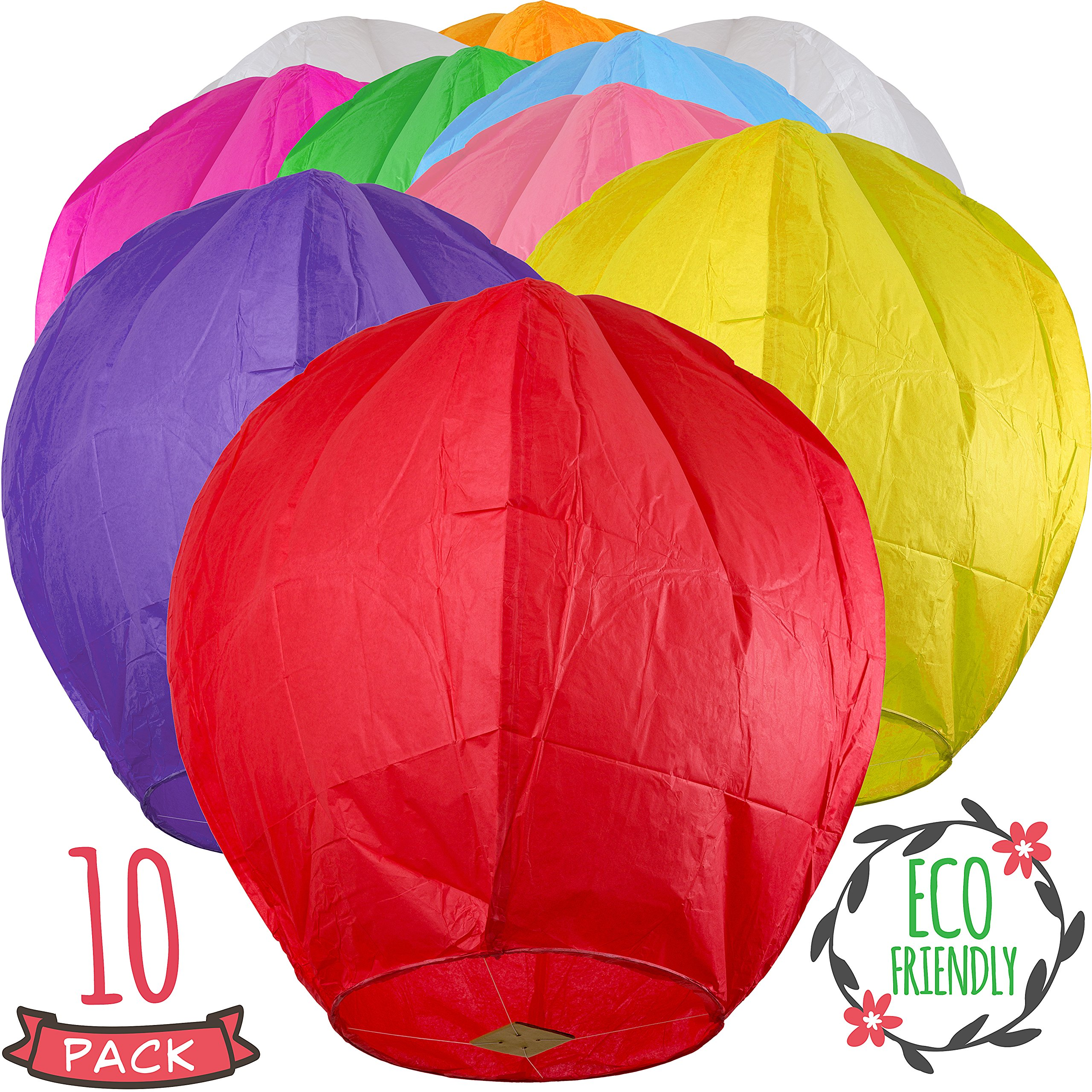 Chinese Lanterns 10-Pack Color, Sky High, Fully Assembled, Biodegradable, Sky Lanterns by Coral entertainments for Birthdays, Ceremonies, Weddings. Safe to use and Flame Retardant Paper by SKY HIGH