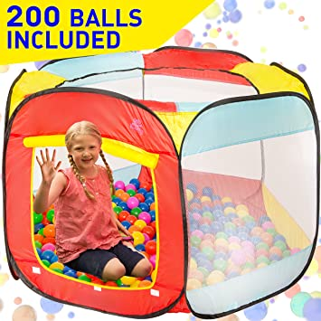 Kiddey Ball Pit Play Tent for Kids - 200 Balls Included - 6-sided Ball  sc 1 st  Amazon.com : ball pit tent - memphite.com