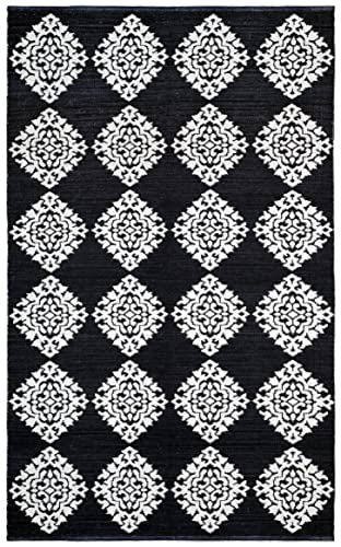 Jacquard Medallion Cotton Rug, Black, 4-Feet by 6-Feet