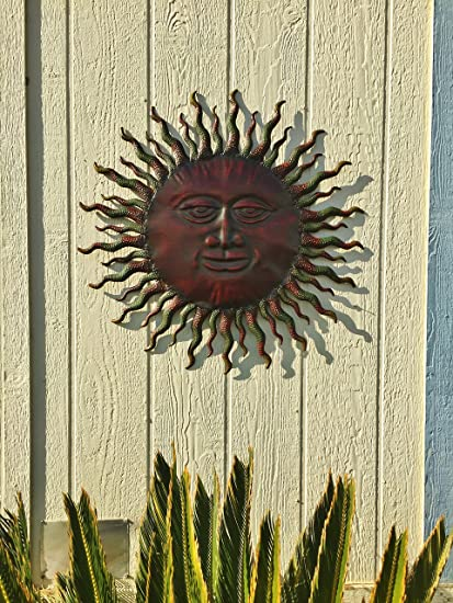 Amazoncom Metal Sun Wall Decor Rustic Garden Art Indoor Outdoor