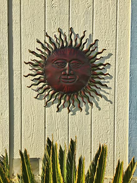 Metal Sun Wall Decor Rustic Garden Art Indoor Outdoor Patio Wall Sculpture