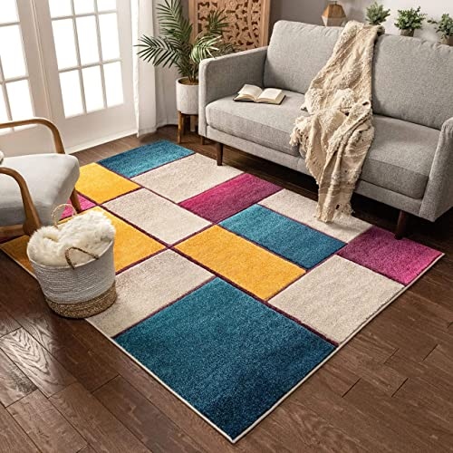 """Beverly Squares Yellow Blue Orange Purple Fuchsia Modern Geometric Hand Carved 5x7 5'3"""" x 7'3"""" Area Rug Easy to Clean Stain Fade Resistant Thick Soft Plush"""