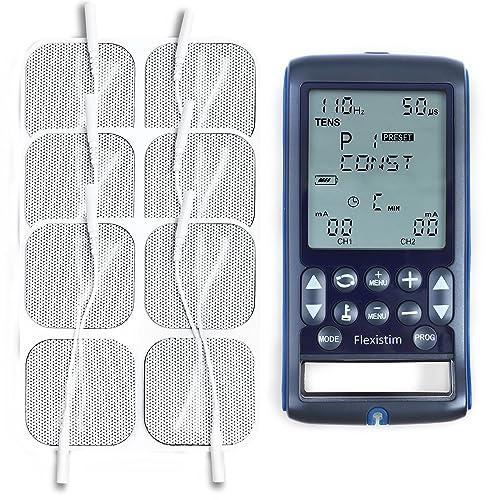 TensCare Flexistim 12 electrodos Electroestimulador Completo con 4 terapias EMS Tens Ift y Microcorriente Dispositivo pequeño Pero potente con mas de 50 programas