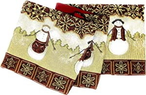 Tache Mr. & Mrs. Snowman Couple Vintage Christmas Eve Holiday Snowflakes Traditional Red White Decorative Woven Tapestry Table Runners, 13 x 72