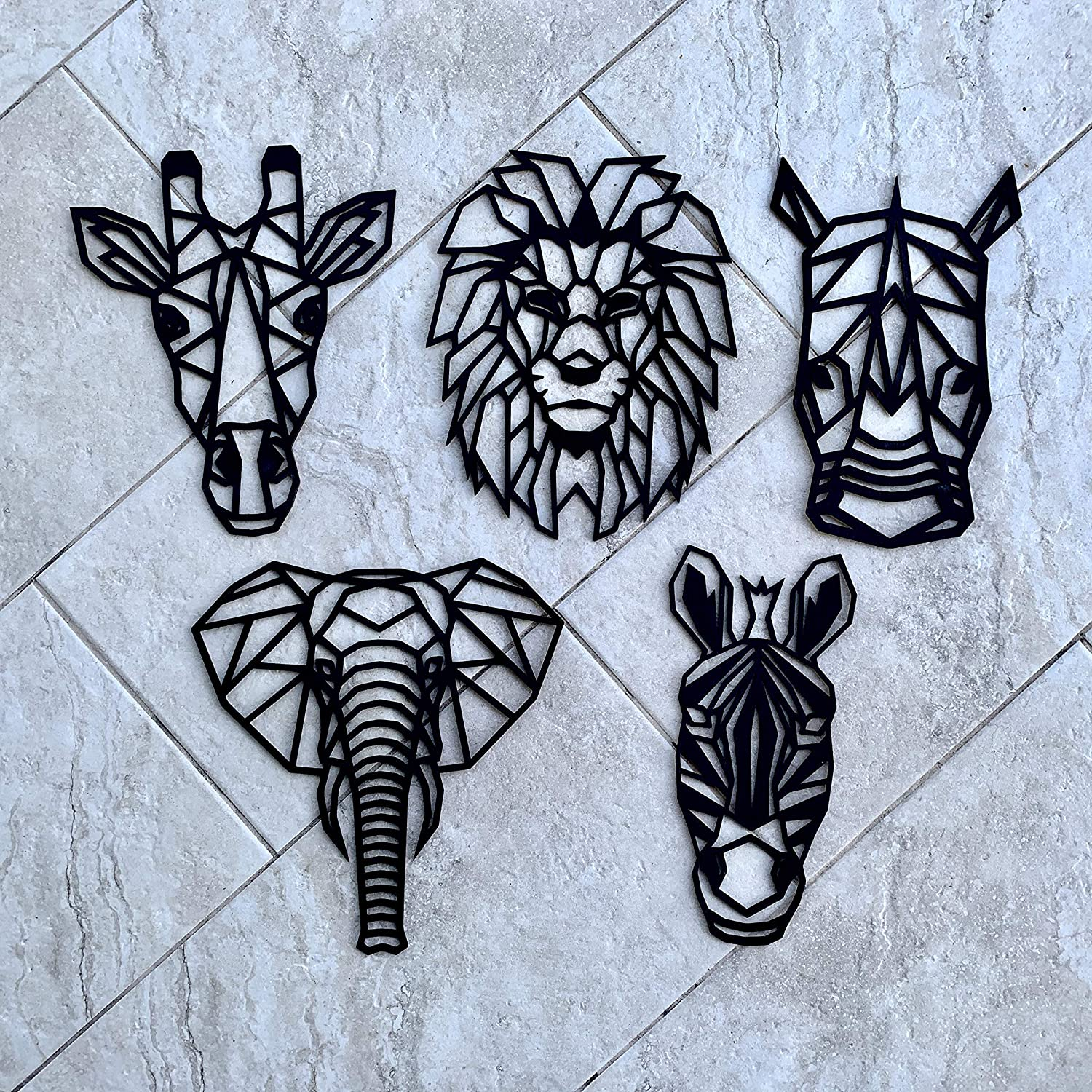Pack of 5 Nursery Minimalist Wall Art Decor Wooden SAFARI Animal Geometric Wall Art Pack Decoration for Bedrooms Living Rooms