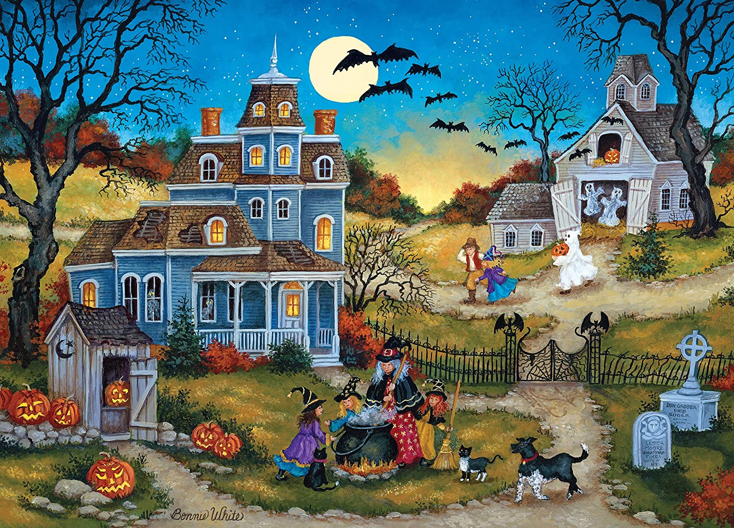 Amazon.com: MasterPieces Seasonal Three Little Witches Halloween Jigsaw Puzzle by Bonnie White, 1000-Piece: Toys & Games