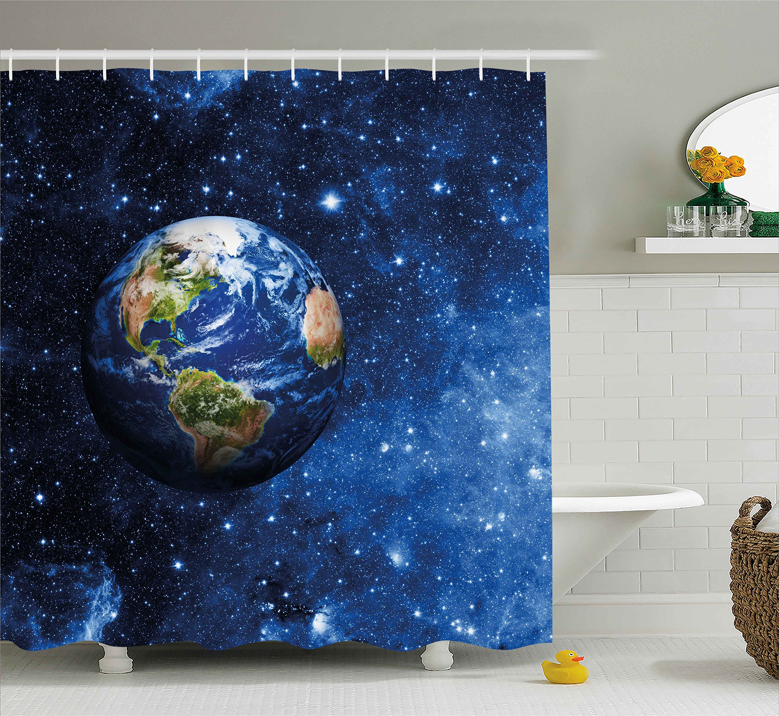 Ambesonne Space Shower Curtain, Outer View of Planet Earth in Solar System with Stars Life on Globe Themed Image, Fabric Bathroom Decor Set with Hooks, 84 Inches Extra Long, Blue Green