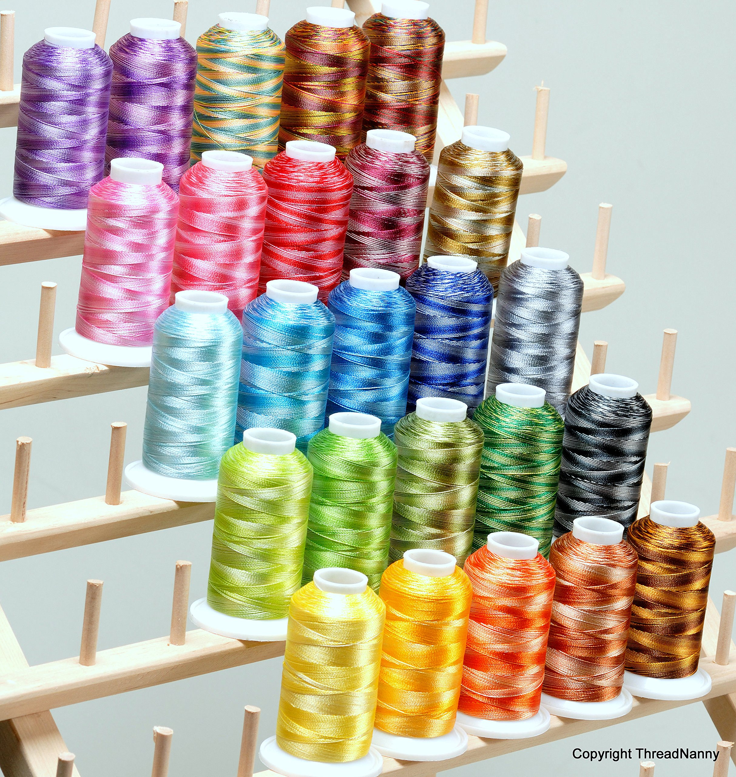 25 LARGE Cones Variegated Embroidery Machine Thread 40wt 1100yards Poly120D/2 by ThreadNanny