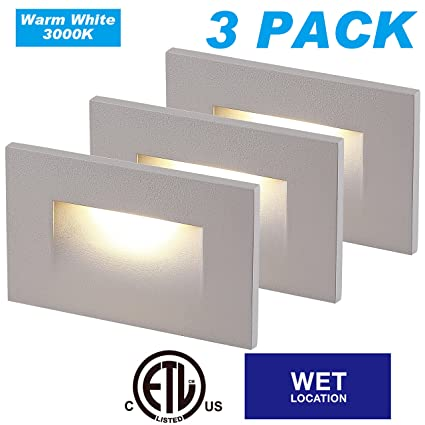 Cloudy Bay LED Indoor Outdoor Step Light,3-Pack,3000K Warm White,Stair  Light,White Finish