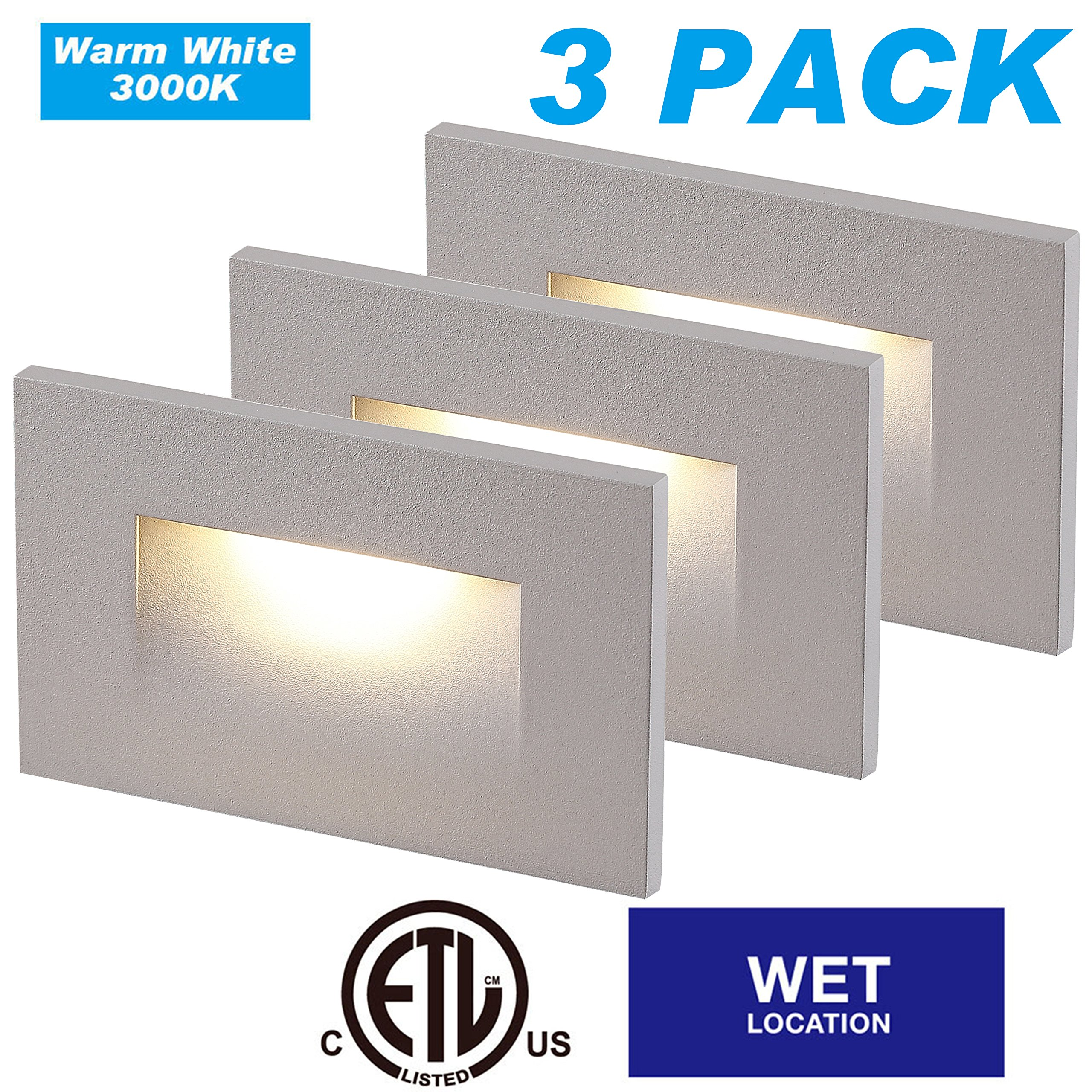 Cloudy Bay LED Indoor Outdoor Step Light,3-Pack,3000K Warm White,Stair Light,White Finish by Cloudy Bay