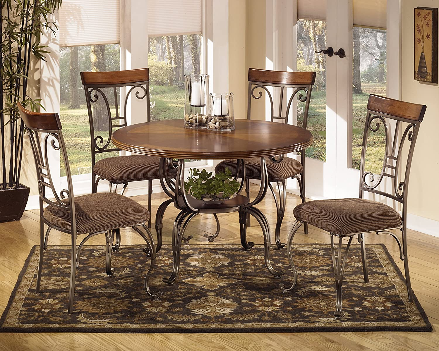amazon com ashley furniture signature design plentywood dining amazon com ashley furniture signature design plentywood dining room chair set of 4 metal and wood chairs