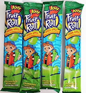0.75oz Jovy Fruit Roll Snack, Green Apple (4 Packets Per Order)
