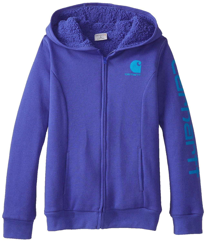 df29ab0de4e Amazon.com: Carhartt Big Girls' Logo Brushed Zip Front Sweatshirt Sherpa  Lined: Clothing
