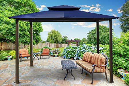 Paragon-Outdoor GZ584EN Backyard Structure Soft Top Barcelona Gazebo, 10 x 12 , Navy
