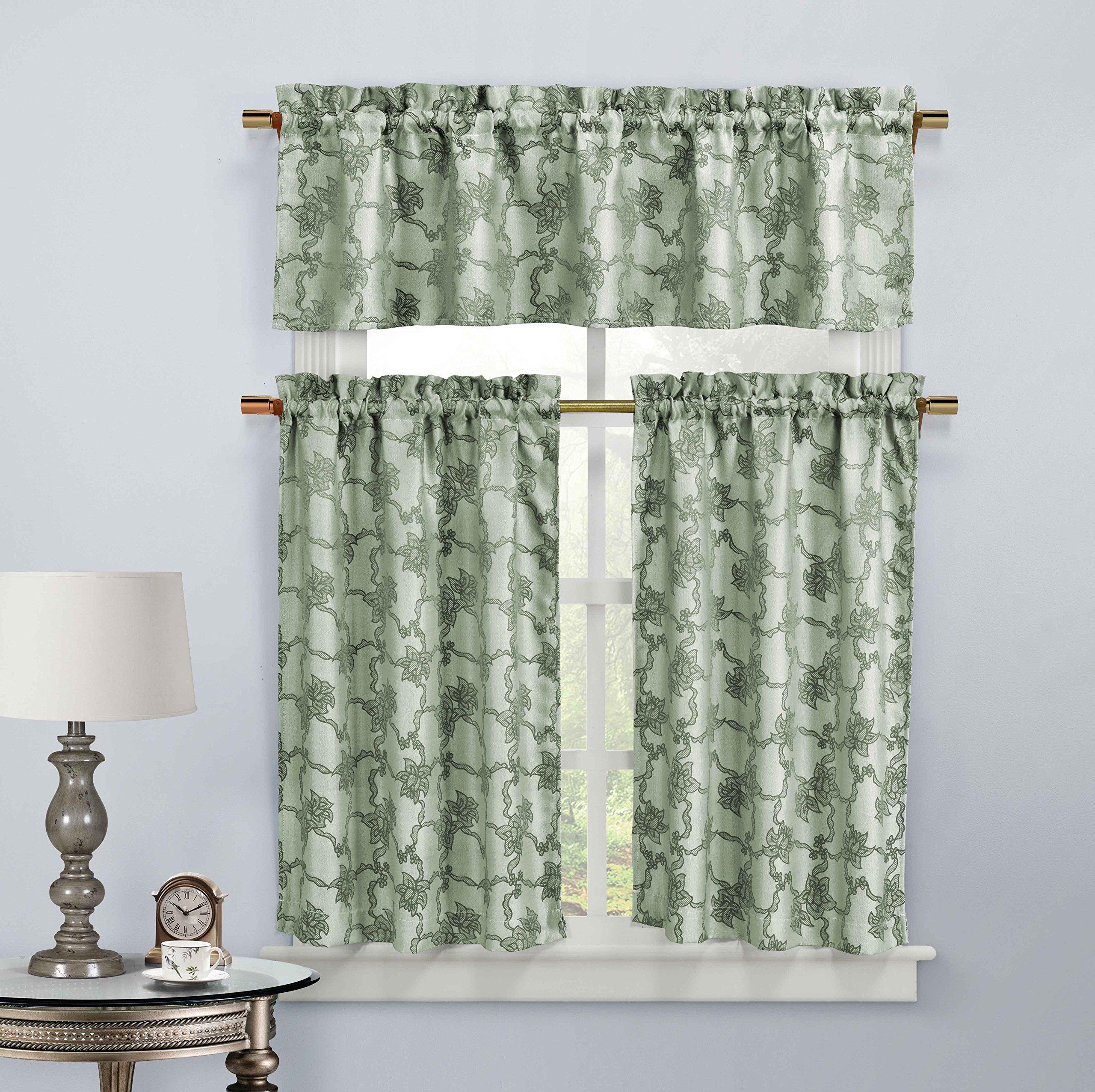 Spa Blue 3-Piece Jacquard Window Curtain Set: Boranical Vine Design, 2 Tiers, 1 Valance