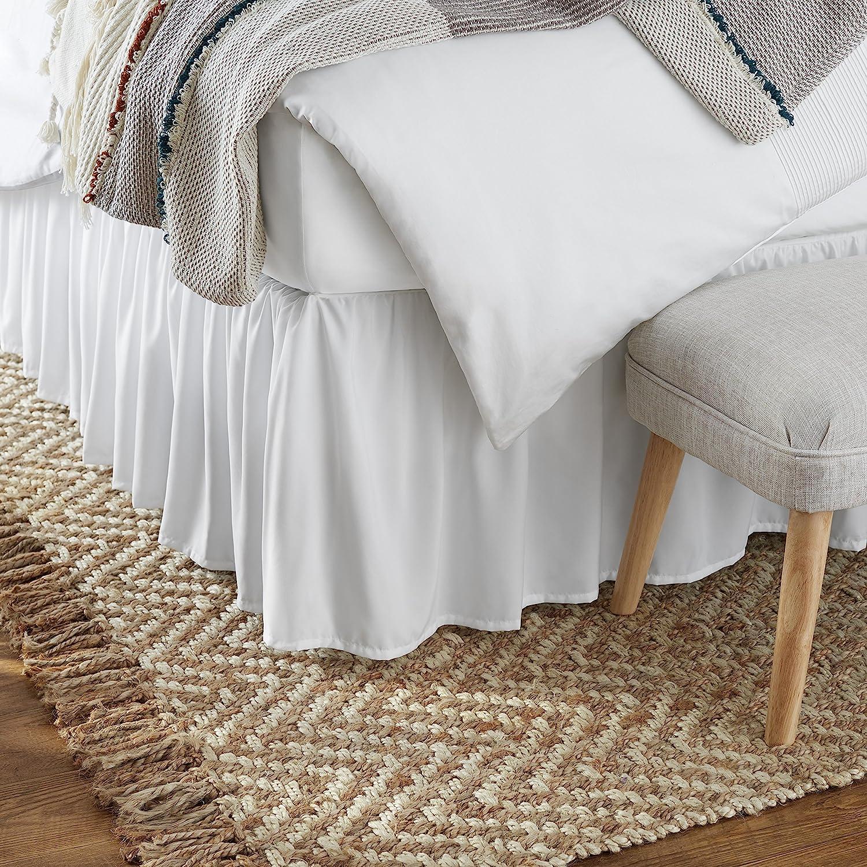 Amazon Basics Ruffled Bed Skirt Full Bright White Home Kitchen