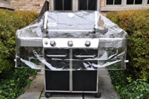 """LAMINET Crystal Clear Heavy-Duty Waterproof Plastic Outdoor Furniture Cover - 60"""" Gas Grill Cover - 3 Season Protection - Keep Rain, Snow & Debris Off! Premium Protection at Economy Price!"""