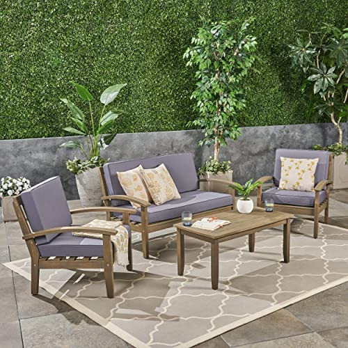 Christopher Knight Home Peyton 4-Piece Outdoor Wooden Chat Set