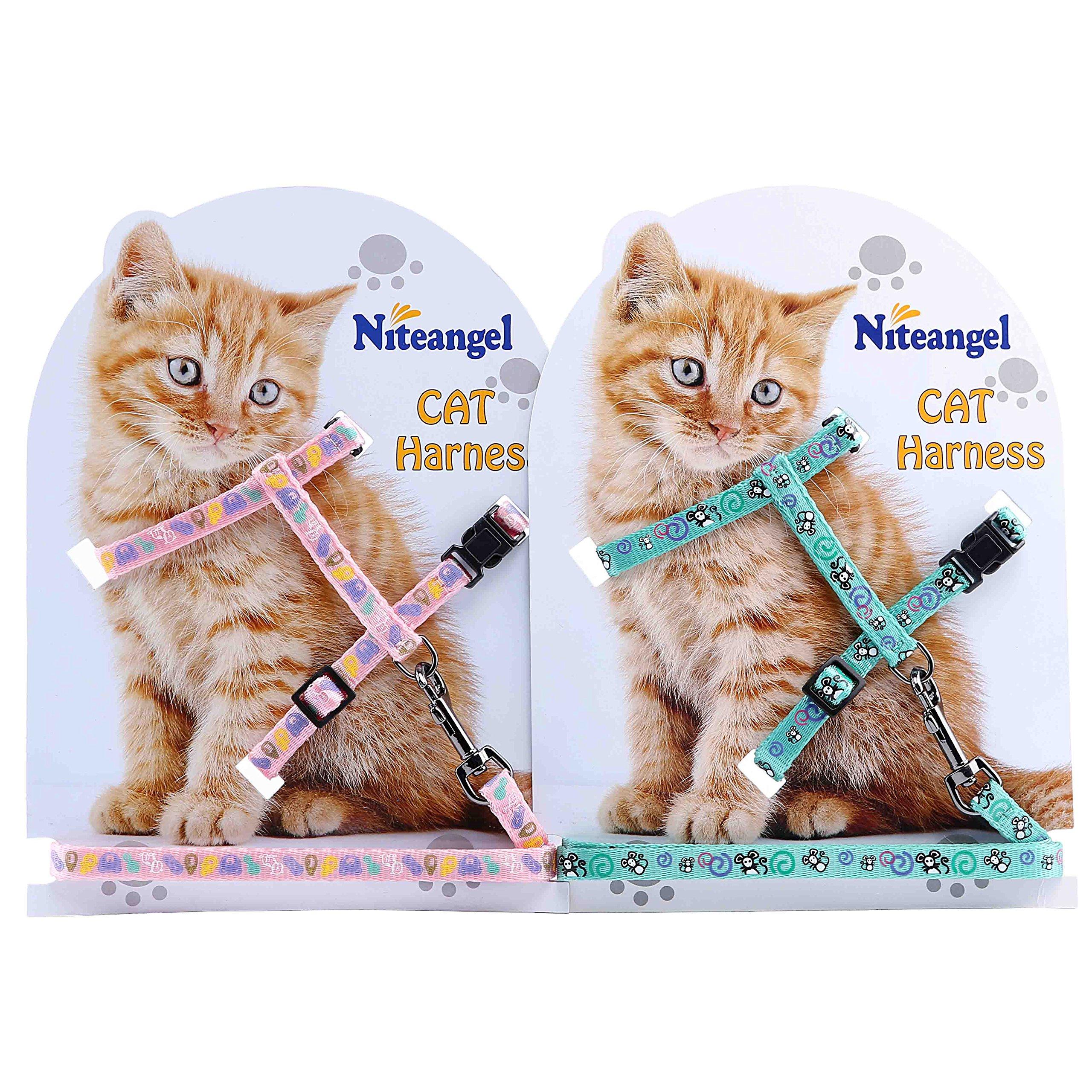Niteangel 2-Pack of Adjustable Cat Harness & Leash (Pink & Green)