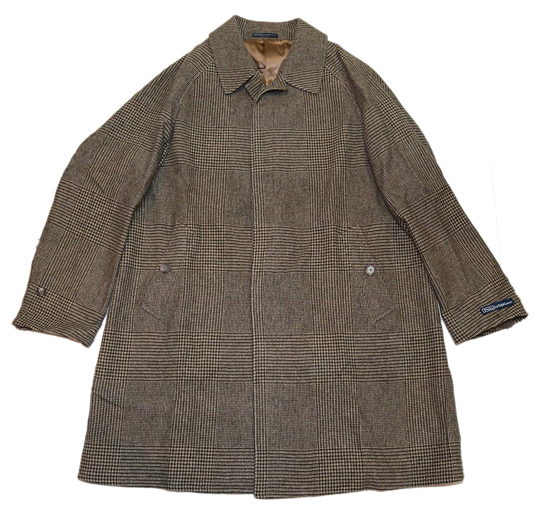 7fb565b228 Ralph Lauren Polo Mens Glen Plaid Wool Overcoat Jacket Coat Italy Brown  Beige 44R at Amazon Men s Clothing store