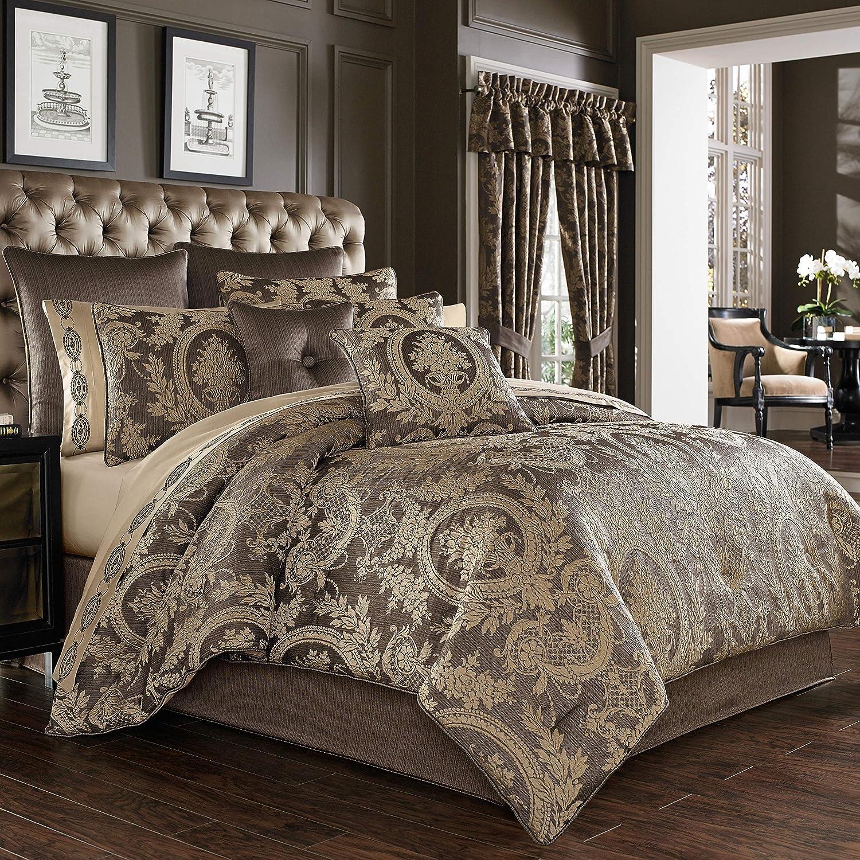 Five Queens Court Neapolitan Woven Puff Jacquard Luxury 4 Piece Comforter Set, Mink, King 110x96,2478096KCS