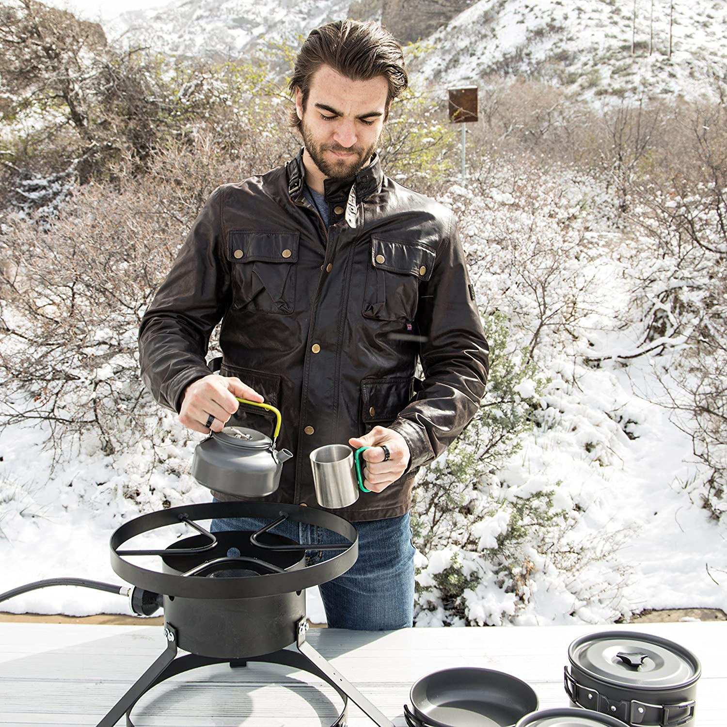 Lightweight Cooking Gear with Kettle SolSource Sport Cookset One Earth Designs Camping Cookware Set and Frying Pan Two Pots