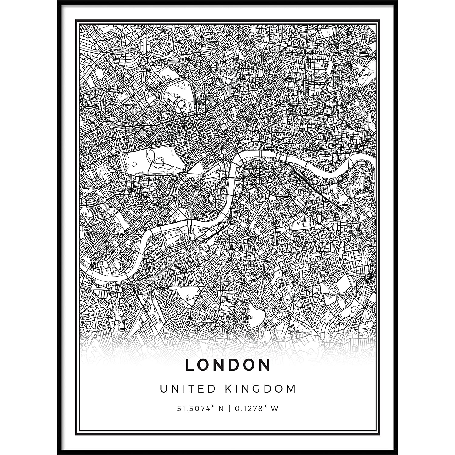 Map Of Uk Black And White.Amazon Com Squareious London Map Poster Print Modern Black And