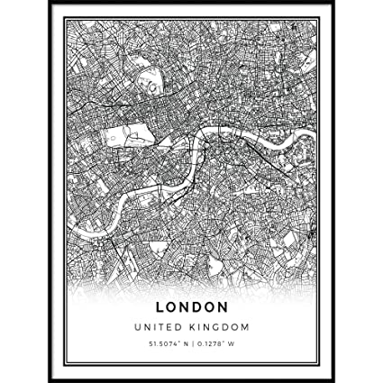 Amazon Com Squareious London Map Poster Print Modern Black And