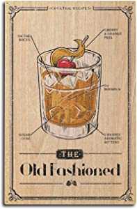 Lantern Press Prohibition, Cocktail Recipe, Old Fashioned 80240 (10x15 Wood Wall Sign, Wall Decor Ready to Hang)