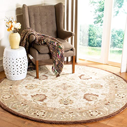 Safavieh Anatolia Collection AN512D Handmade Traditional Oriental Ivory and Brown Premium Wool Round Area Rug 6' Diameter