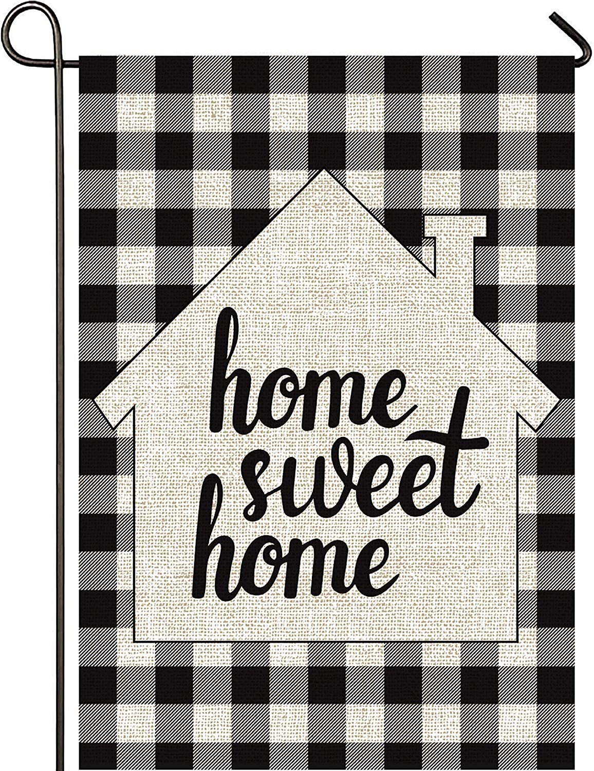 Mogarden Home Sweet Home Winter Garden Flag, Double Sided, 12.5 x 18 Inches, Buffalo Check Plaid Thick Weatherproof Burlap Yard Flag