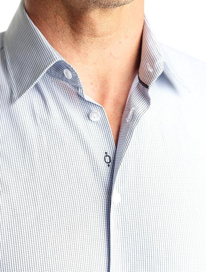 Caramelo, Camisa Vestir Regular Cuello Ingles, Hombre · Azul ...