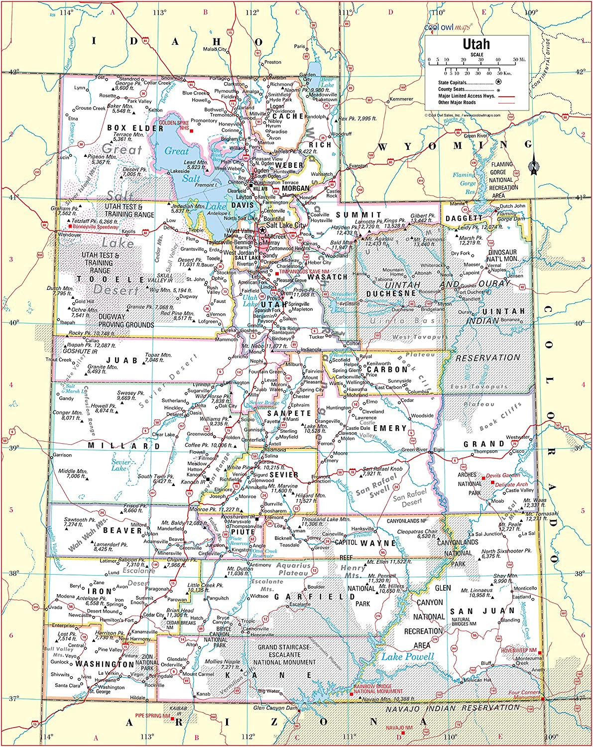 Cool Owl Maps Utah State Wall Map Poster Rolled 24Wx30H Laminated