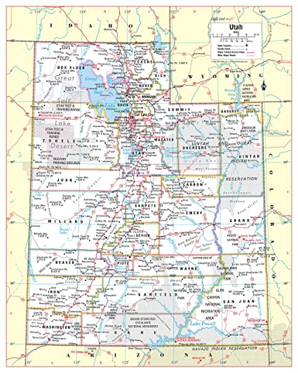 photograph about Printable Map of Utah identified as : Great Owl Maps Utah Country Wall Map Poster Rolled