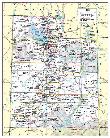 Old State Map - Utah - Hammond\'s Atlas 1910 - 23 x 29.82